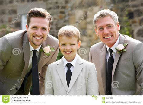 Groom With Best Man And Page Boy At Wedding Royalty Free