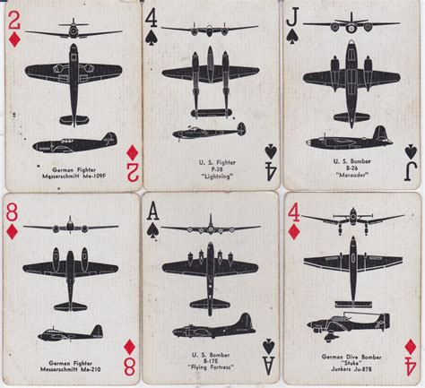 Axis Gift Card - 344th bomb group airplane spotter playing cards icelandic cards