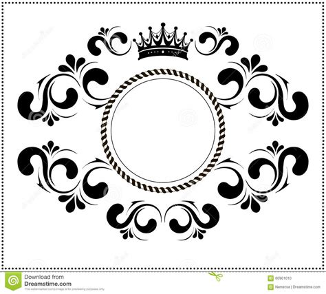 Beautiful Calligraphic Frame With Crown Stock Vector Image 60901010 Logo Frame Template