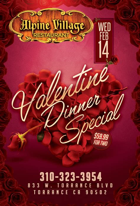valentines dinner specials dinner special the alpine
