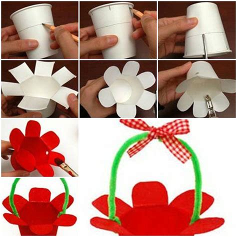 Make A Paper Basket - how to make paper cup basket step by step diy tutorial