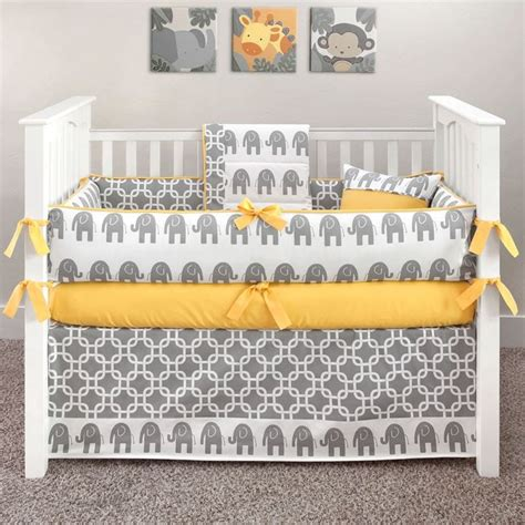 Yellow Elephant Crib Bedding Elephant Grey And Yellow Crib Bedding Yellow Elephant 5 Crib Set Baby Stuff