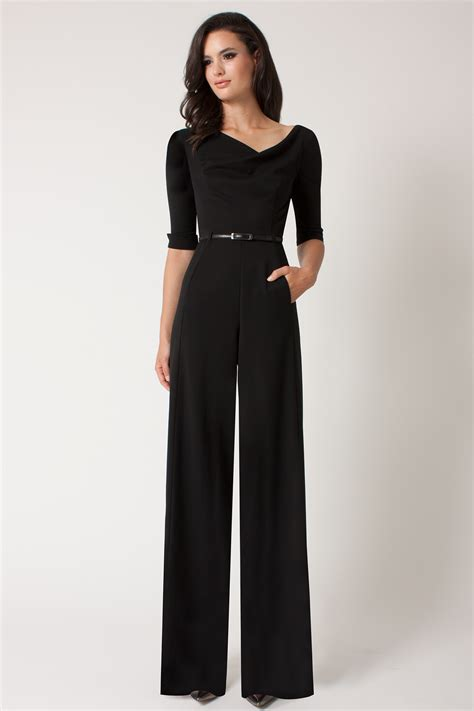 Jumsuit Black black halo jackie wide leg garbadine jumpsuit in black lyst