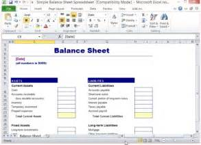 Simple Personal Balance Sheet Exle by Simple Balance Sheet Template For Excel