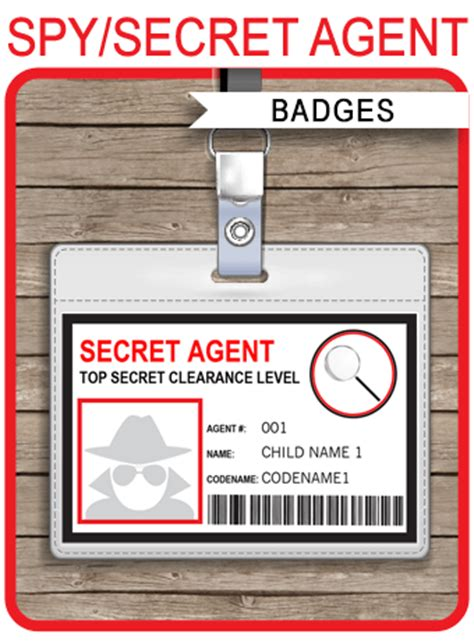 printable spy id cards secret agent badge template spy badge birthday party