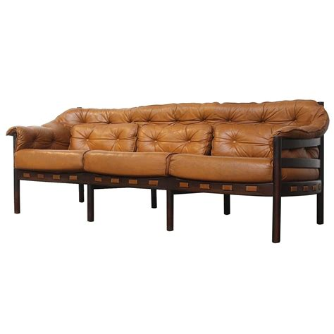Coloured Leather Sofas Tufted Leather Camel Colored Three Seat Arne Norell Sofa At 1stdibs