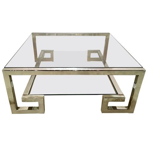 chrome and glass key coffee table manner of milo