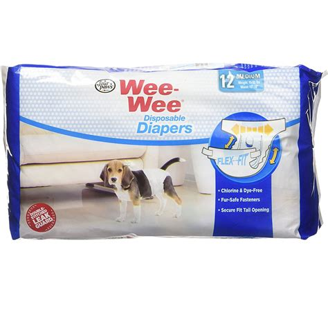 wee puppy paws four paws wee wee diapers medium 12 diapers