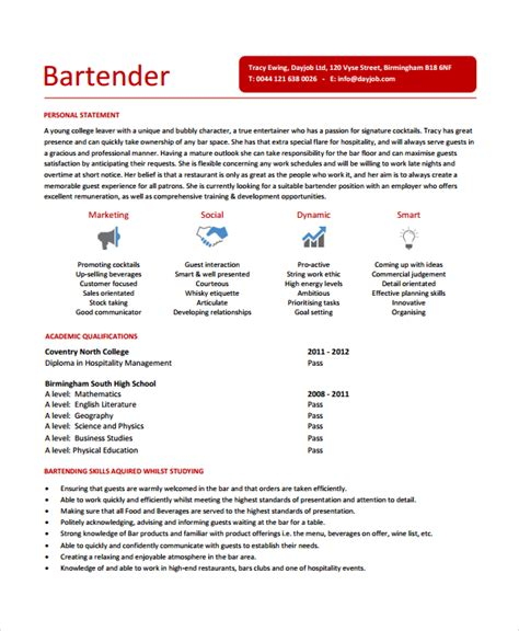 Free Bartender Resume Templates by Bartender Resume Template 6 Free Word Pdf Document