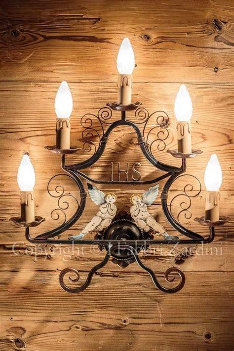 applique ferro battuto applique a 5 con angeli in ferro battuto decorato a