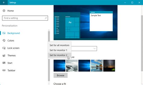 different backgrounds on dual monitors how to set different wallpapers on dual monitors in windows 10