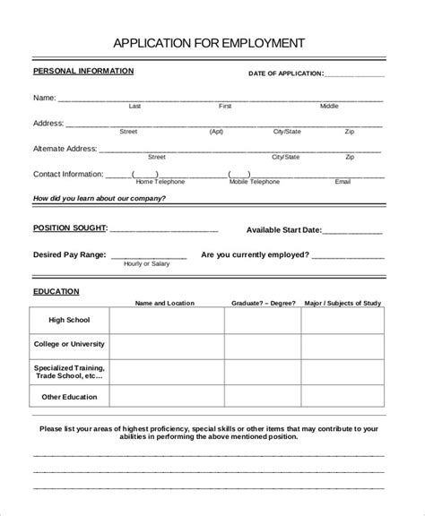 general employment application template generic application 8 free word pdf documents