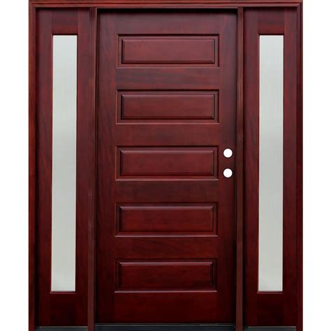 Six Panel Exterior Wood Doors by Pacific Entries 70 In X 80 In 5 Panel Stained Mahogany