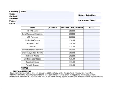 equipment invoice template sle rent invoice templates 8 free documents