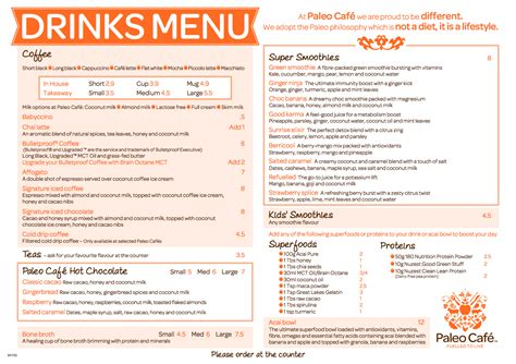 cocktail menu for 50 paleo cafe canberra