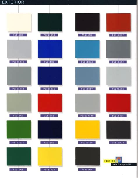 protech oxyplast powder coatings archive color chart