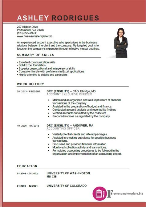 executive cv templates account executive resume template free resume