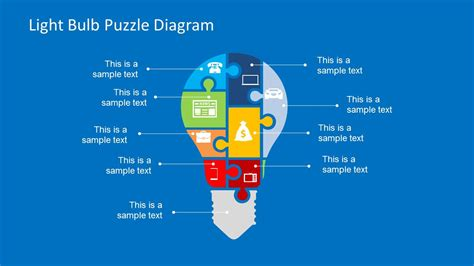 powerpoint jigsaw template free light bulb puzzle diagram slidemodel