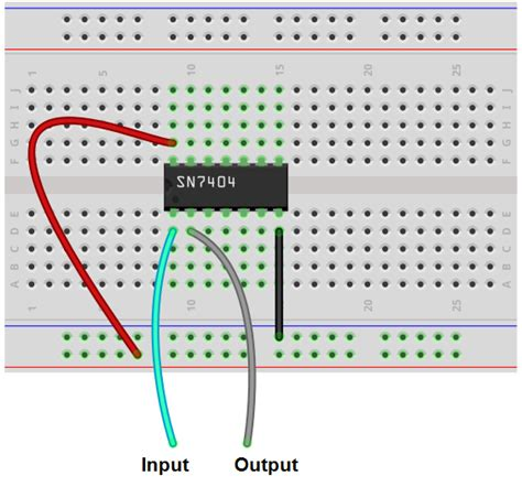 bread board circuit connection how to build an inverter circuit with a 7404 chip