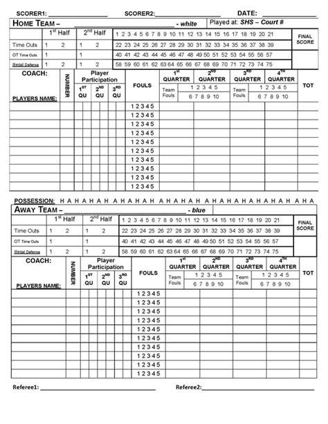 Basketball Score Sheet Template by Blank Basketball Stat Sheet Templates Hoopcoachorg 2016