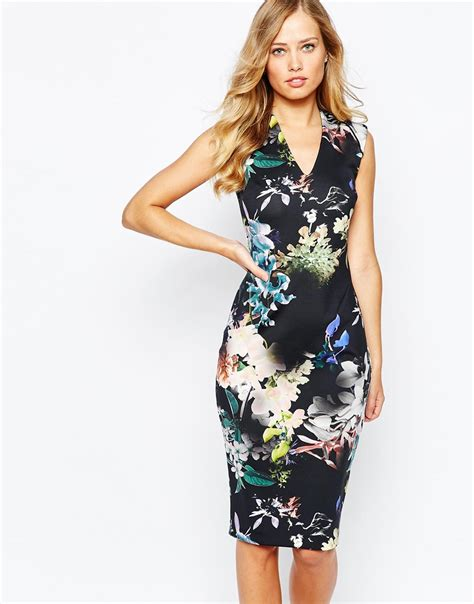 New Jfashion Dress Scuba Printing Hitam Hgb coast jagger scuba dress in floral print lyst