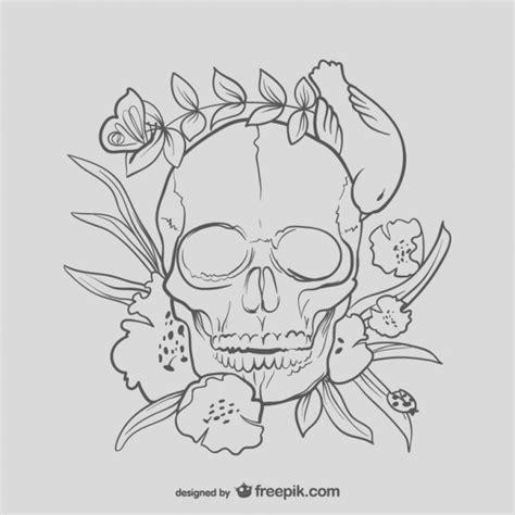 bloemen schedel tekening vector gratis download