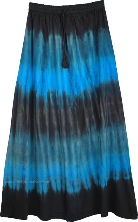 maxi summer skirt in black and blue clothing tie dye