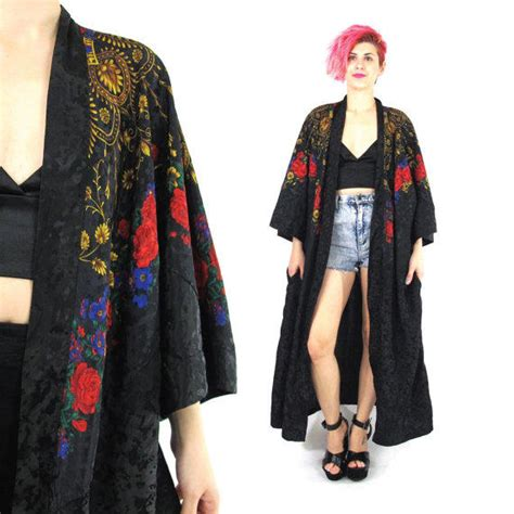 Robe Black Sleeved Outer Kimono Wu4032bk vintage floral black satin robe draped from honey moon muse