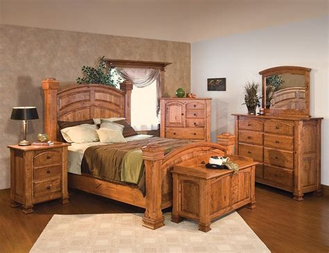 luxury amish rustic cherry bedroom set solid wood full queen king bed cabin ebay