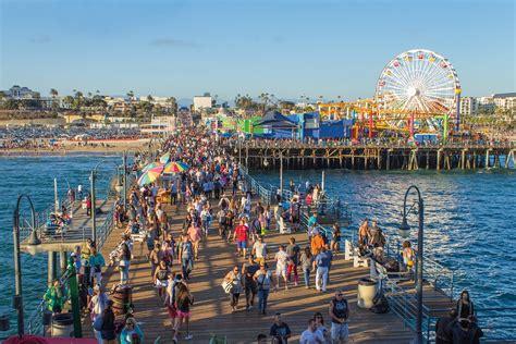pier santa monica free photo santa monica pier people hurry free image