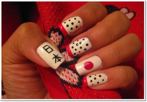 black and red love pattern fake nails japanese cute false konichiwa 25 awesome japanese nail art designs