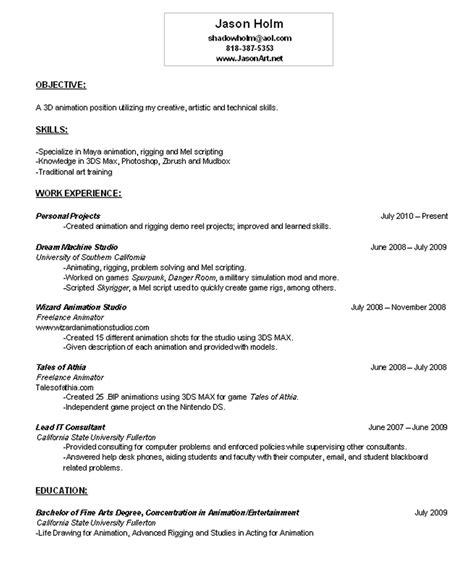 Example Resume Objective by Email Me