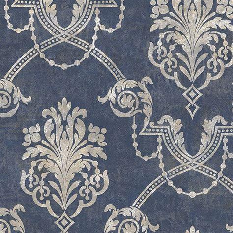 blue wallpaper roll gray damask navy blue wallpaper double roll bolts blue