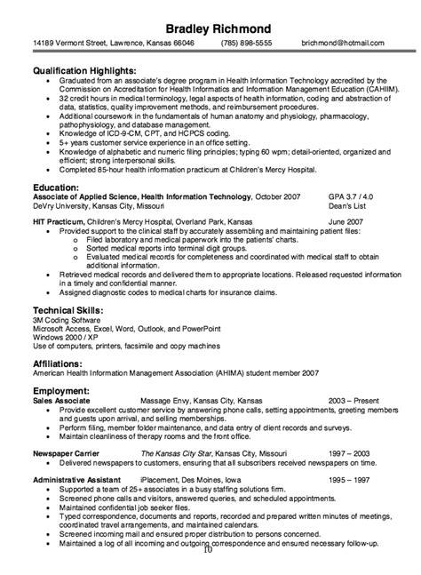 health information technology resume sle http