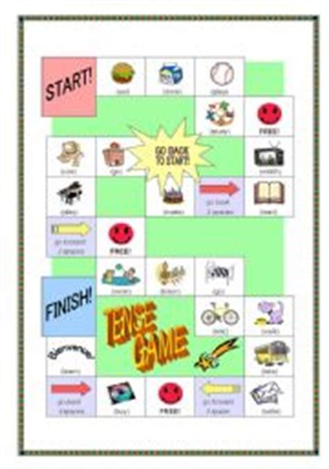 past tense printable board games make a sentence with a tense board game