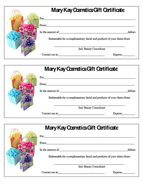printable gift vouchers next mary kay gift certificates free template gift ftempo