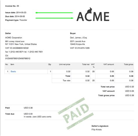 logo design invoice sle invoiceocean support switching the invoice information