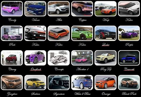 range rover colour chart and wonderful colours range rover evoque forums