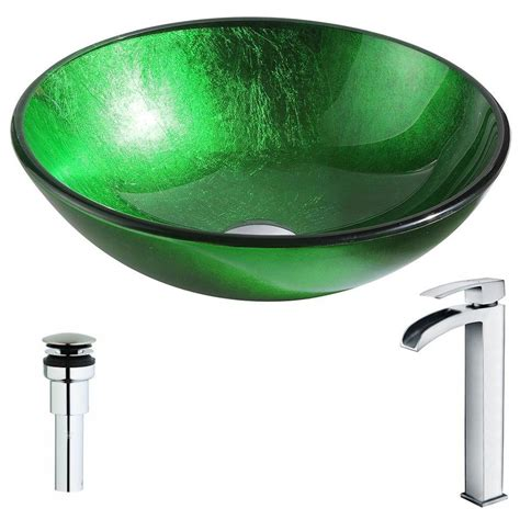 green glass bathroom sink shop anzzi melody series lustrous green tempered glass