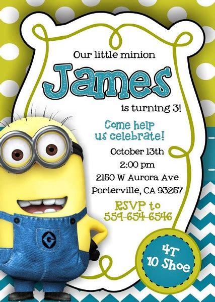 minion invitation card template minion birthday invitations theruntime
