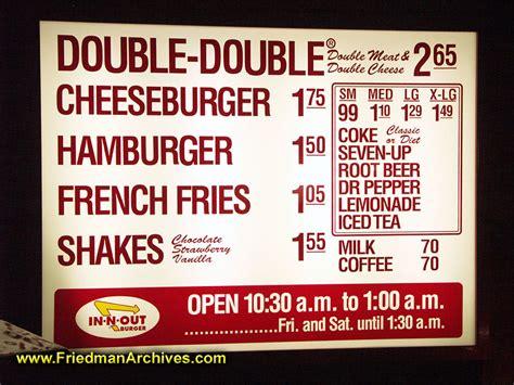 inn n out burger menu in and out menu