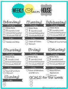 weekly house cleaning on cleaning schedule