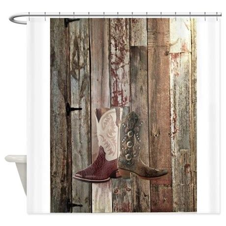 western cowboy boots barnwood count shower curtain by