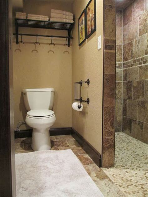walk in shower in the basement bathroom great for