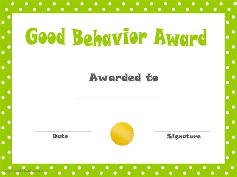 reward certificate templates behavior printable certificates