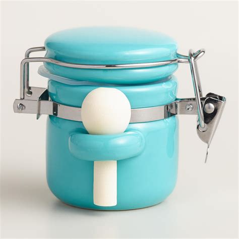 turquoise kitchen canisters mini aqua ceramic canisters with spoons everything turquoise