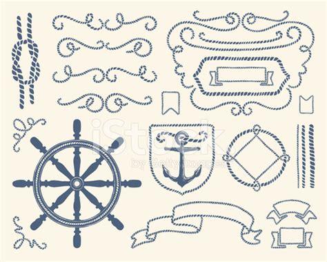 Mozza Set Navy blue nautical decoration illustration set stock vector