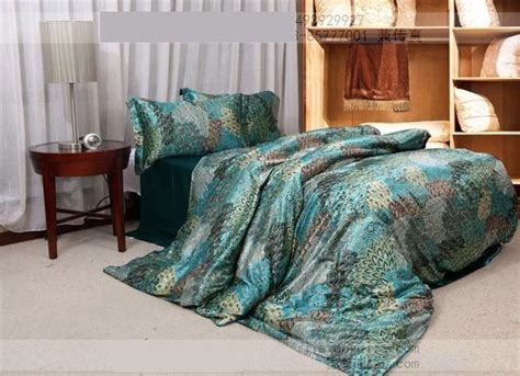 Green King Size Comforter Sets by Blue Peacock Feather Print Silk Bedding Sets King Size