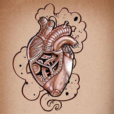 imagenes de corazones mecanicos steunk heart centrepiece for a chest tattoo рисунки