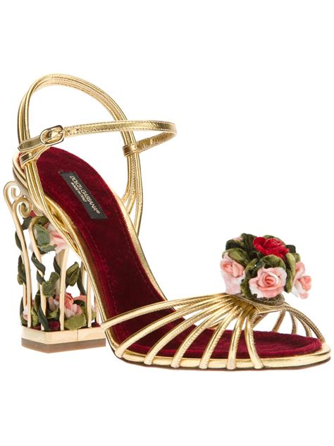 3d Gold Flower Boot Shoes lyst dolce gabbana floral detail sandal in metallic